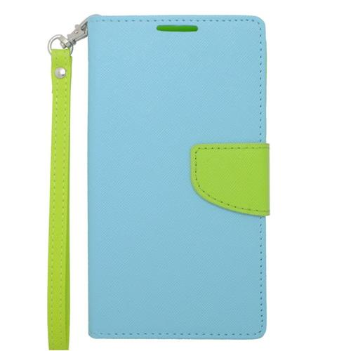 Insten Leather Fabric Case Lanyard w/stand/card slot For Samsung Galaxy Note 4, Light Blue/Green