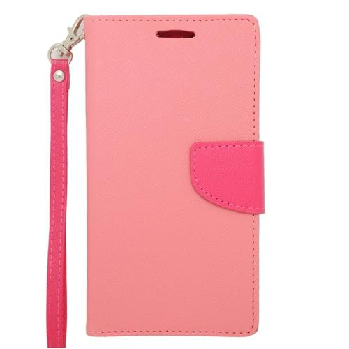 Insten Folio Leather Fabric Case Lanyard w/stand/card slot For Samsung Galaxy Note 4, Pink/Hot Pink