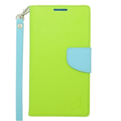 Insten Leather Fabric Case Lanyard w/stand/card holder For Samsung Galaxy Note 4, Green/Light Blue