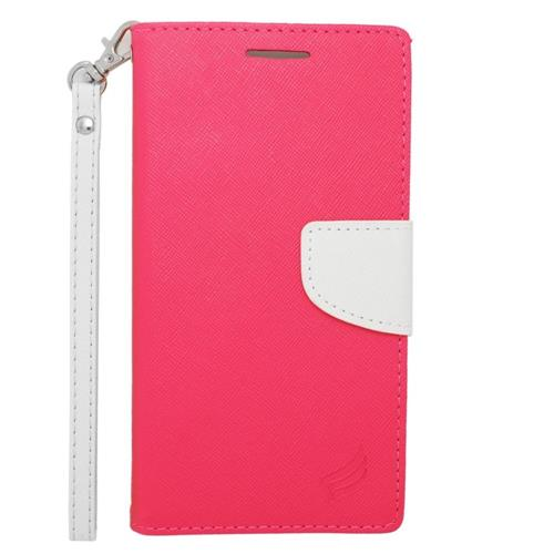 Insten Flip Leather Fabric Case Lanyard w/stand/card holder For Samsung Galaxy Note 4, Pink/White