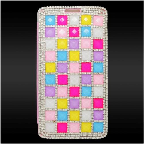 Insten Flip Leather 3D Diamante Cover Case w/card slot For Samsung Galaxy Note 4, Colorful