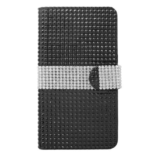 Insten Folio Leather Diamond Cover Case w/card holder For Samsung Galaxy Note 4, Black/Silver