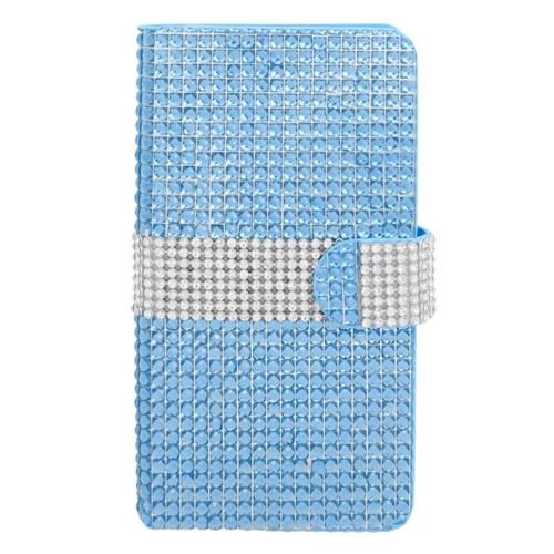Insten Book-Style Leather Diamond Case w/card slot For Samsung Galaxy Note 4, Light Blue/Silver