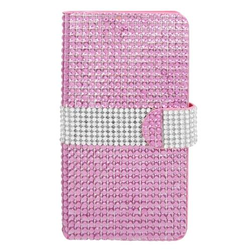 Insten Flip Leather Rhinestone Case w/card holder For Samsung Galaxy Note 4, Hot Pink/Silver