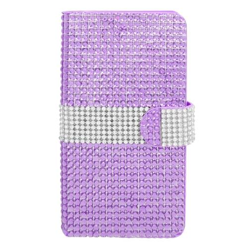Insten Flip Leather Diamond Case w/card slot For Samsung Galaxy Note 4, Purple/Silver