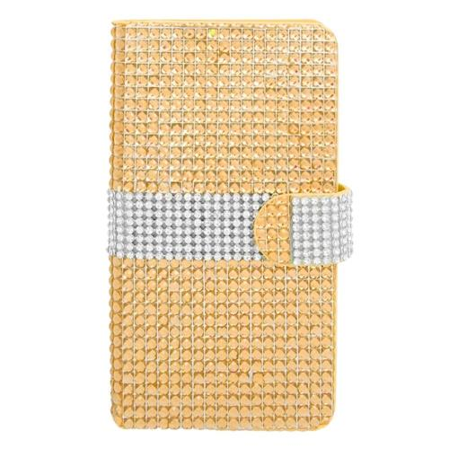 Insten Folio Leather Diamante Cover Case w/card holder For Samsung Galaxy Note 4, Gold/Silver
