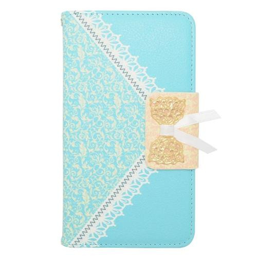 Insten Leather Fabric Case w/stand/card holder For Samsung Galaxy Note 4, Light Blue/Gold