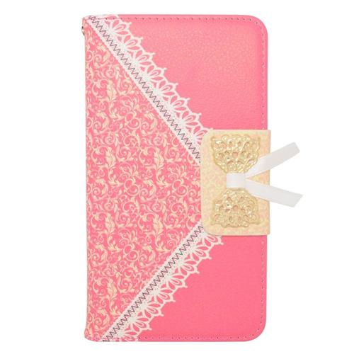 Insten Book-Style Leather Fabric Case w/stand/card holder For Samsung Galaxy Note 4, Hot Pink/Gold