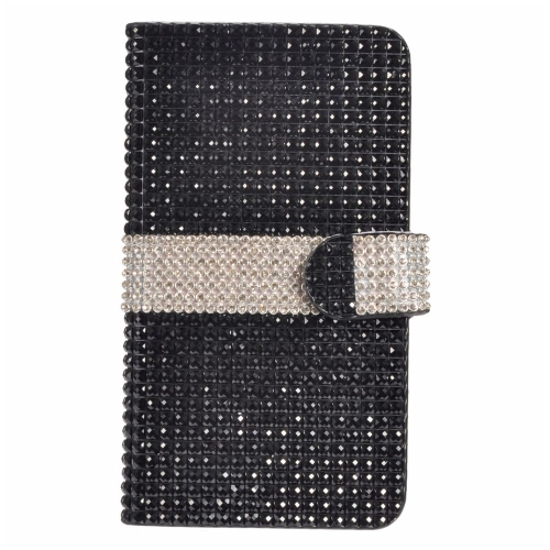 Insten Flip Leather Rhinestone Case w/card holder For LG V10, Black/Silver
