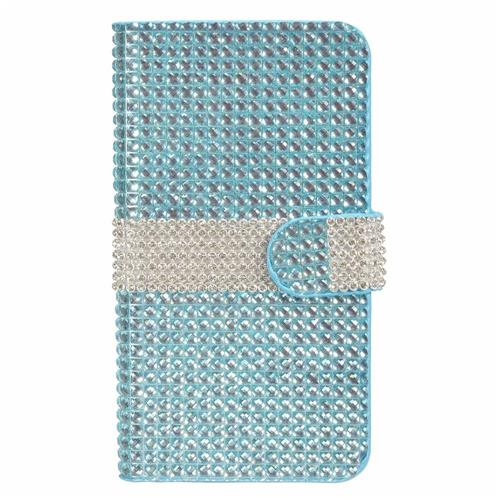 Insten Folio Leather Diamante Cover Case w/card holder For LG V10, Light Blue/Silver