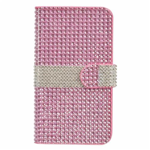 Insten Folio Leather Diamond Case w/card holder For LG V10, Hot Pink/Silver