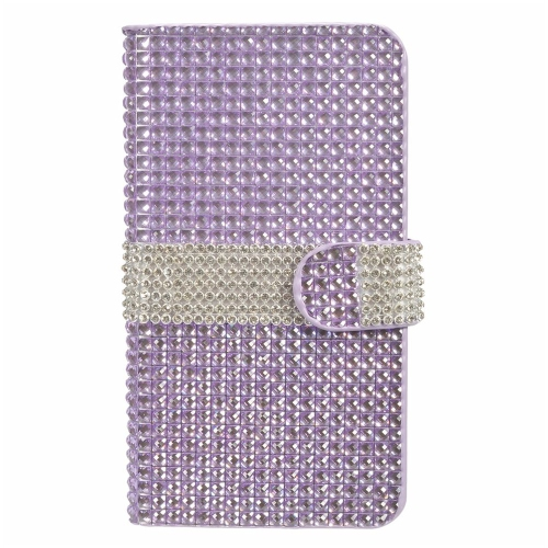 Insten Flip Leather Rhinestone Cover Case w/card slot For LG V10, Purple/Silver