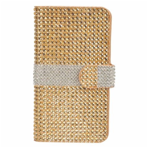 Insten Flip Leather Bling Case w/card holder For LG V10, Gold/Silver