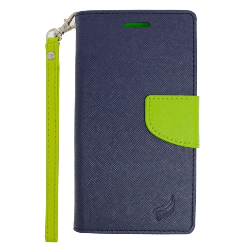 Insten Folio Leather Case Lanyard w/stand/card holder/Photo Display For LG V10, Dark Blue/Green