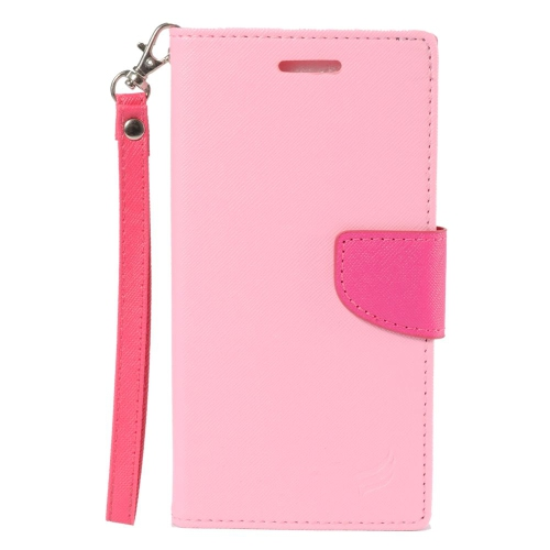 Insten Folio Leather Fabric Case Lanyard w/stand/card slot/Photo Display For LG V10, Pink/Hot Pink