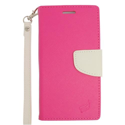 Insten Flip Leather Fabric Case Lanyard w/stand/card slot/Photo Display For LG V10, Pink/White