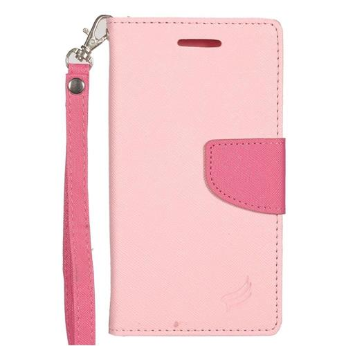 Insten Flip Leather Fabric Case Lanyard w/stand/card slot/Photo Display For LG G5, Pink/Hot Pink