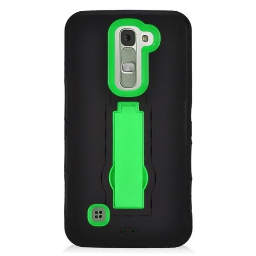 Insten Hybrid Stand Rubber Silicone/PC Case For LG K7 Tribute 5, Black/Green
