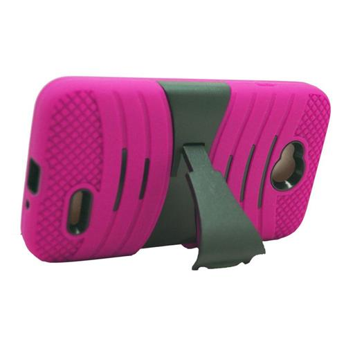 Insten Hybrid Case For LG Optimus L70 MS323/Realm LS620, Hot Pink/Black