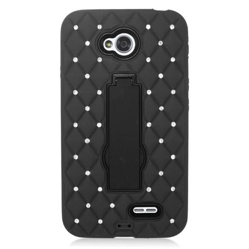 Insten Hybrid Case With Diamond For LG Optimus L70 MS323/Realm LS620, Black