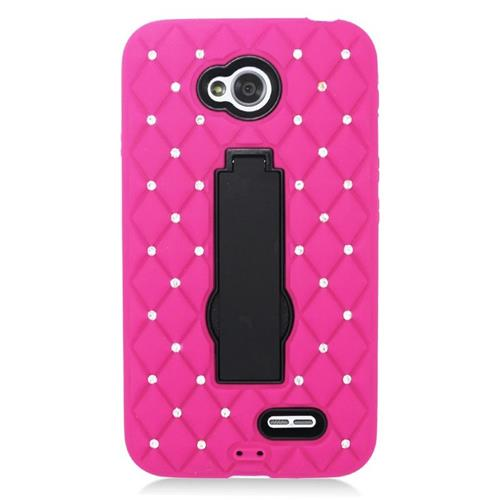 Insten Hybrid Case With Diamond For LG Optimus L70 MS323/Realm LS620, Hot Pink/Black