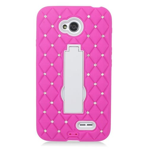 Insten Hybrid Case With Diamond For LG Optimus L70 MS323/Realm LS620, Hot Pink/White