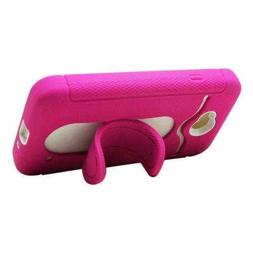 Insten Hybrid ID/Card Slot Case For LG Optimus L70 MS323/Realm LS620, Hot Pink/White
