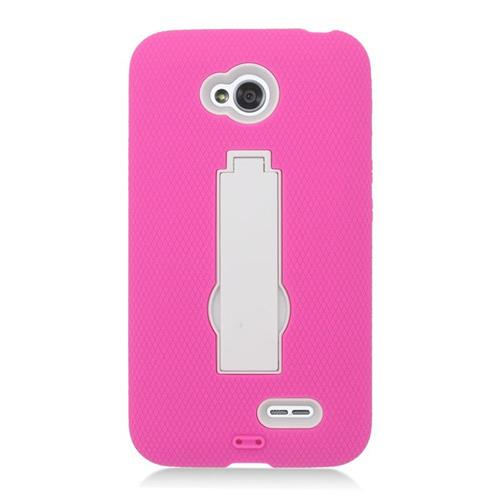 Insten Hybrid Case For LG Optimus L70 MS323/Realm LS620, Hot Pink/White