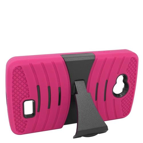 Insten Wave Hybrid Stand Rubber Silicone/PC Case For LG Tribute, Hot Pink/Black
