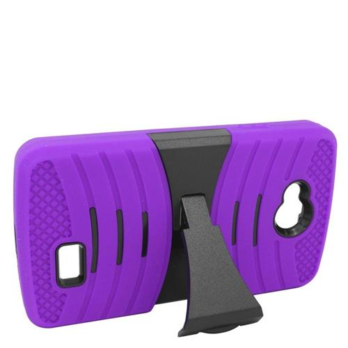 Insten Wave Hybrid Stand Rubber Silicone/PC Case For LG Tribute, Purple/Black