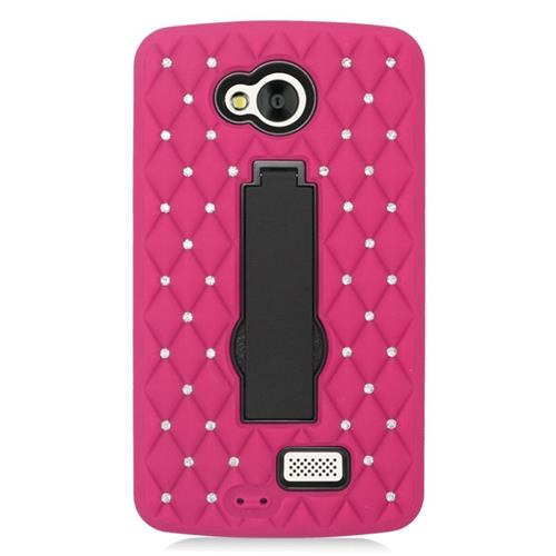 Insten Hybrid Stand Rubber Silicone/PC Case With Diamond Compatible LG Tribute, Hot Pink/Black