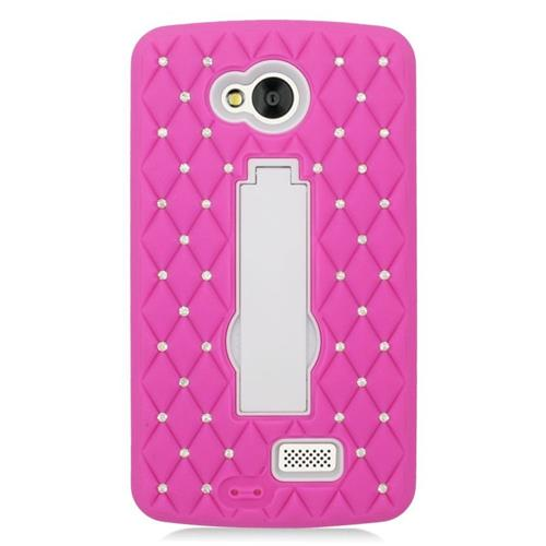 Insten Hybrid Stand Rubber Silicone/PC Case With Diamond Compatible LG Tribute, Hot Pink/White