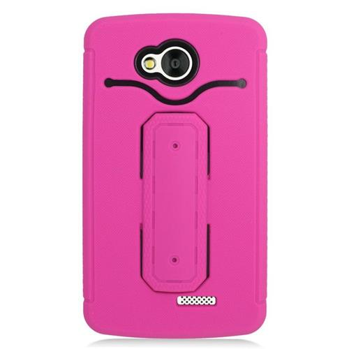 Insten Hybrid Stand Rubber Silicone/PC ID/Card Slot Case For LG Tribute, Hot Pink/Black