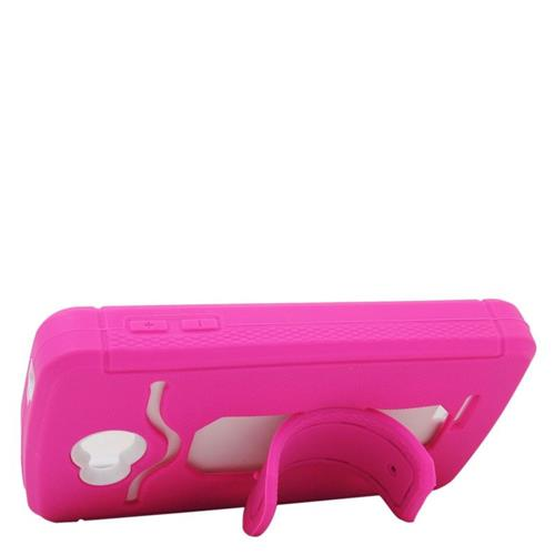 Insten Hybrid Stand Rubber Silicone/PC ID/Card Slot Case For LG Tribute, Hot Pink/White