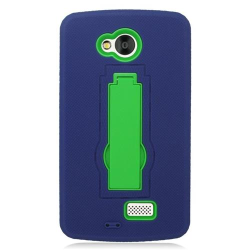 Insten Hybrid Stand Rubber Silicone/PC Case For LG Tribute, Blue/Green