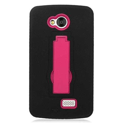 Insten Hybrid Stand Rubber Silicone/PC Case For LG Tribute, Black/Hot Pink
