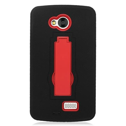 Insten Hybrid Stand Rubber Silicone/PC Case For LG Tribute, Black/Red