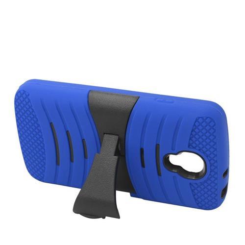 Insten Wave Hybrid Stand Rubber Silicone/PC Case For LG Volt LS740, Blue/Black