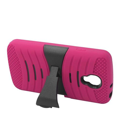 Insten Wave Hybrid Stand Rubber Silicone/PC Case For LG Volt LS740, Hot Pink/Black