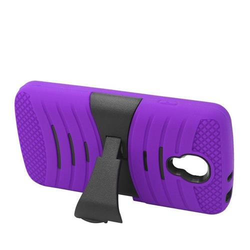 Insten Wave Hybrid Stand Rubber Silicone/PC Case For LG Volt LS740, Purple/Black