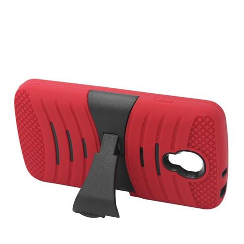 Insten Wave Hybrid Stand Rubber Silicone/PC Case For LG Volt LS740, Red/Black