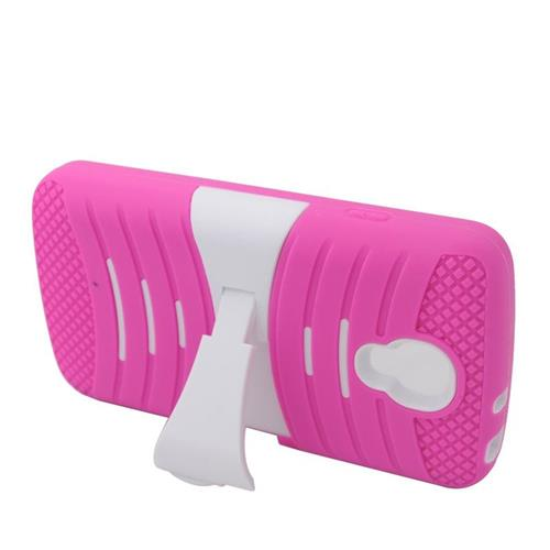 Insten Wave Hybrid Stand Rubber Silicone/PC Case For LG Volt LS740, Hot Pink/White