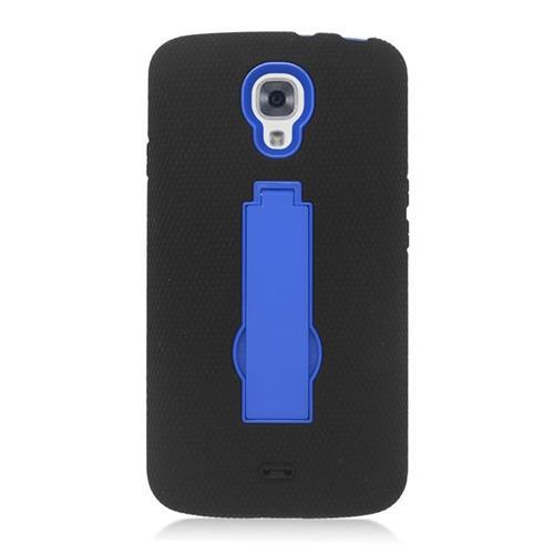 Insten Hybrid Stand Rubber Silicone/PC Case For LG Volt LS740, Black/Blue