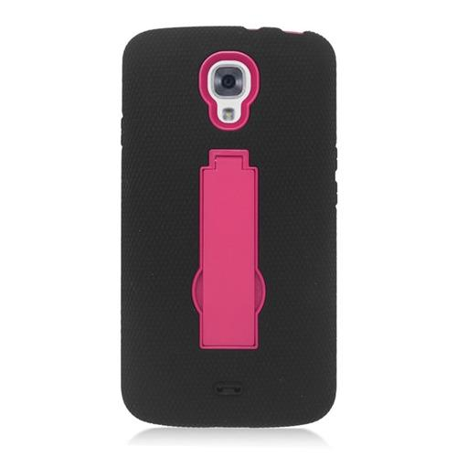 Insten Hybrid Stand Rubber Silicone/PC Case For LG Volt LS740, Black/Hot Pink