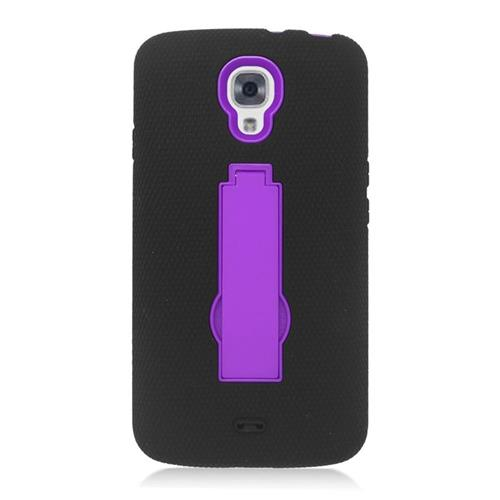 Insten Hybrid Stand Rubber Silicone/PC Case For LG Volt LS740, Black/Purple