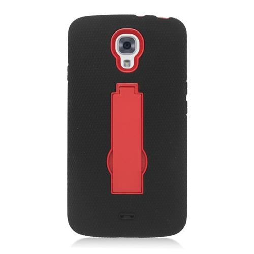 Insten Hybrid Stand Rubber Silicone/PC Case For LG Volt LS740, Black/Red