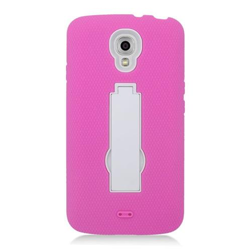 Insten Hybrid Stand Rubber Silicone/PC Case For LG Volt LS740, Hot Pink/White