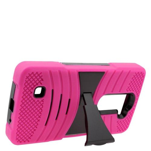 Insten Wave Hybrid Stand Rubber Silicone/PC Case For LG Volt 2, Hot Pink/Black