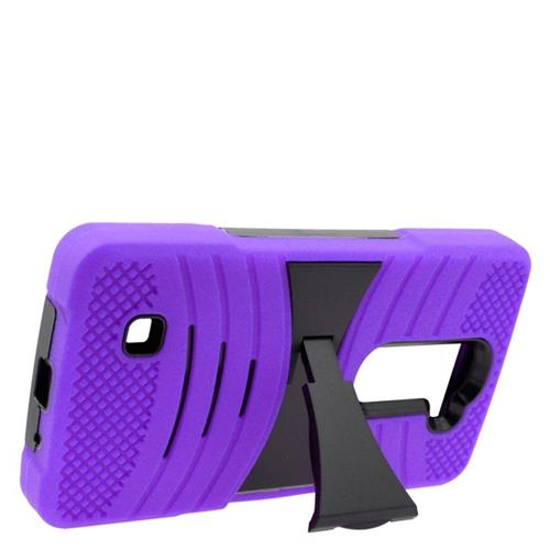 Insten Wave Hybrid Stand Rubber Silicone/PC Case For LG Volt 2, Purple/Black