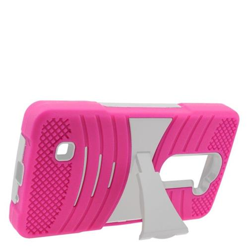 Insten Wave Hybrid Stand Rubber Silicone/PC Case For LG Volt 2, Hot Pink/White